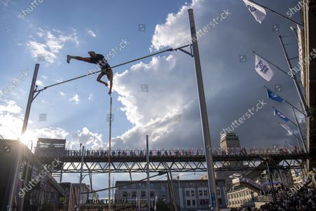 Renaud Lavillenie of France competes during the men's pole vault city event of the Athletissima IAAF Diamond League international athletics meeting, in Lausanne, Switzerland, Wednesday, September 2, 2020. Due to the pandemic of the coronavirus disease (COVID-19), this year's Athletissima meeting organize only the so-called 'City Event', an edition of Athletissima reserved exclusively for pole vault organised in the city centre and in front of 1000 spectators.