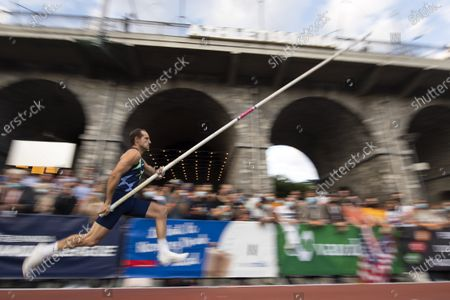 Renaud Lavillenie of France competes during the pole vault city event of the Athletissima IAAF Diamond League international athletics meeting, in Lausanne, Switzerland, Wednesday, September 2, 2020. Due to the pandemic of the coronavirus disease (COVID-19), this year's Athletissima meeting organize only the so-called 'City Event', an edition of Athletissima reserved exclusively for pole vault organised in the city centre and in front of 1000 spectators.