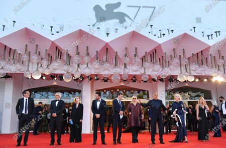 Member of the 'Venezia 77' jury Nicola Lagioia, Biennale President Roberto Cicutto, members of the ''Venezia 77'' jury Joanna Hogg, Matt Dillon, Christian Petzold, Veronika Franz, Festival director Alberto Barbera, President of the 'Venezia 77' jury Australian actress Cate Blanchett, and Ludivine Sagnier arrive for the opening ceremony and screening of 'Lacci' at the 77th annual Venice International Film Festival, in Venice, Italy, 02 September 2020.The event is the first major in-person film fest to be held in the wake of the Covid-19 coronavirus pandemic. Attendees have to follow strict safety measures like mandatory face masks indoors, temperature scanners, and socially distanced screenings to reduce the risk of infection. The public is barred from the red carpet, and big stars are expected to be largely absent this year. The 77th edition of the festival runs from 02 to 12 September 2020.