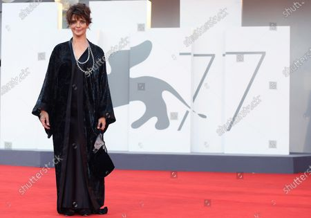 Laura Morante arrives for the opening ceremony and screening of 'Lacci' at the 77th annual Venice International Film Festival, in Venice, Italy, 02 September 2020. The event is the first major in-person film fest to be held in the wake of the Covid-19 coronavirus pandemic. Attendees have to follow strict safety measures like mandatory face masks indoors, temperature scanners, and socially distanced screenings to reduce the risk of infection. The public is barred from the red carpet, and big stars are expected to be largely absent this year. The 77th edition of the festival runs from 02 to 12 September 2020.