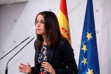 Ciudadanos Party's leader Ines Arrimadas delivers a press conference after her meeting with Spanish Prime Minister Pedro Sanchez at the Moncloa Palace in Madrid, Spain, 02 September 2020. Sanchez started a round of negotiations with political parties to gain support for the approval of the next general budget.