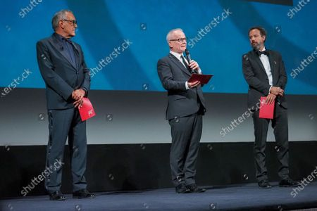 (L-R) Director of the Venice Film Festival Alberto Barbera, Thierry Fremaux and Carlo Chatrian attend the Opening Ceremony during the 77th Venice Film Festival at on September 02, 2020 in Venice, Italy.