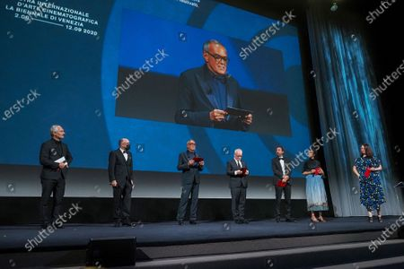 (L-R) Karel Och, Jose Luis Rebordinos, Director of the Venice Film Festival Alberto Barbera, Thierry Fremaux, Carlo Chatrian, Lili Hinstin and Vanja Kaludjercic attend the Opening Ceremony during the 77th Venice Film Festival at on September 02, 2020 in Venice, Italy.