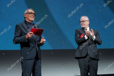 Director of the Venice Film Festival Alberto Barbera and Director of Cannes Film Festival Thierry Fremaux attend the Opening Ceremony during the 77th Venice Film Festival at on September 02, 2020 in Venice, Italy.