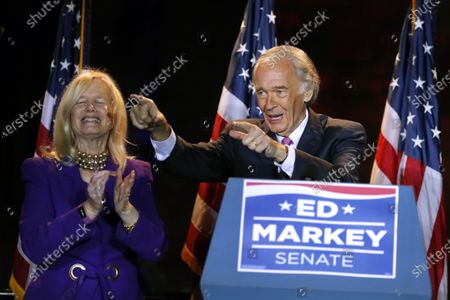 Sen. Edward Markey. D-Mass., celebrates with wife Susan, left, in Malden, Mass., after defeating Rep. Joe Kennedy III, in the Massachusetts Democratic Senate primary