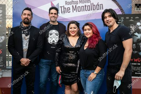 US actor Kurt Caceres, director Luis Iga Garza, US actress and writer Yelyna De Leon, US actress Chelsea Rendon and actor Jordan Diambrini pose for photos as they attend the special screening of their film Murder in the Woods during the reopening of the rooftop cinema Arena Cinelounge at The Montalban amid the coronavirus pandemic in Hollywood, California, USA, 02 September 2020.
