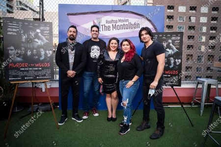 Stock Image of US actor Kurt Caceres, director Luis Iga Garza, US actress and writer Yelyna De Leon, US actress Chelsea Rendon and actor Jordan Diambrini pose for photos as they attend the special screening of their film Murder in the Woods during the reopening of the rooftop cinema Arena Cinelounge at The Montalban amid the coronavirus pandemic in Hollywood, California, USA, 02 September 2020.