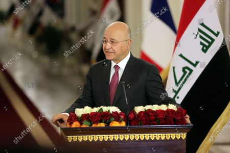 Iraqi President Barham Salih speaks at a joint press conference with French President Emmanuel Macron (not in the picture) in Baghdad, Iraq, on Sept. 2, 2020. Iraqi President Barham Salih on Wednesday met with his French counterpart Emmanuel Macron in Baghdad to discuss bilateral ties and the war against the Islamic State (IS) group.