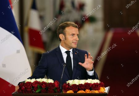 French President Emmanuel Macron speaks at a joint press conference with Iraqi President Barham Salih (not in the picture) in Baghdad, Iraq, on Sept. 2, 2020. Iraqi President Barham Salih on Wednesday met with his French counterpart Emmanuel Macron in Baghdad to discuss bilateral ties and the war against the Islamic State (IS) group.