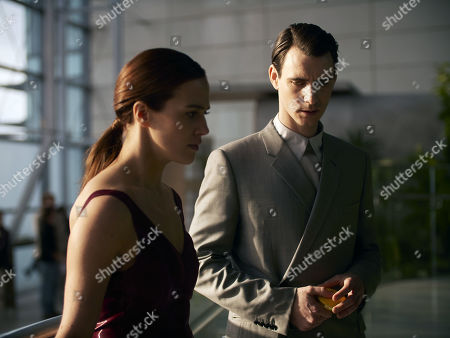 Jessica Brown-Findlay as Lenina Crowne and Harry Lloyd as Bernard Marx