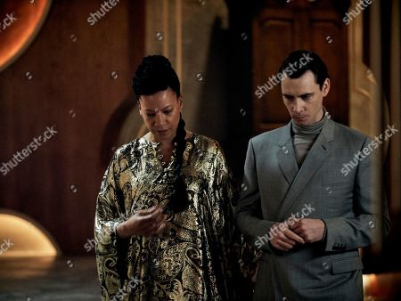 Nina Sosanya as Mustafa Mond and Harry Lloyd as Bernard Marx