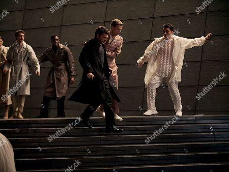 Alden Ehrenreich as John the Savage and Matthew Aubrey as Gary