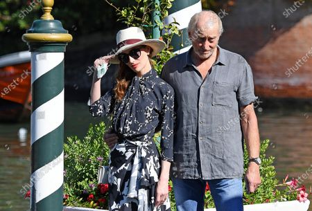 Lotte Verbeek (L) and British actor Charles Dance arrive at Lido Beach for the 77th annual Venice International Film Festival, in Venice, Italy, 03 September 2020. The 77th edition of the festival runs from 02 to 12 September 2020.