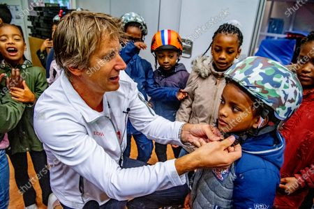 Editorial image of Edwin van der Sar Foundation safe cycling to school project, Amsterdam, The Netherlands - 03 Sep 2020