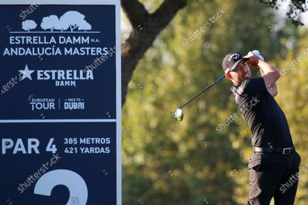 Stock Picture of Spanish golfer Pablo Larrazabal watches his ball after hitting towards the 2nd hole during the first day of the Andalusias' Pro-Am Golf Masters tournament at Valderrama golf course in Sotogrande town, Cadiz province, Andalusia region, southern Spain, 03 September 2020. The competition runs from 03 to 06 September.