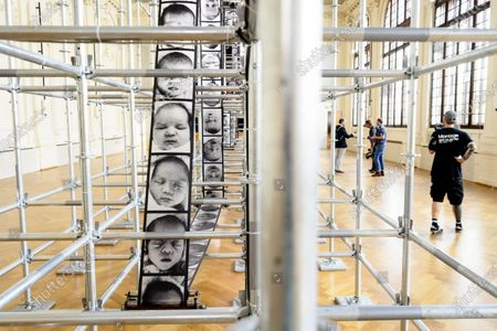 Stock Photo of A view of a work of French contemporary artist Christian Boltanski exhibited in the Salle del Castillo during the Festival Images Vevey, in Vevey, Switzerland, 03 September 2020. The Festival Images Vevey, Biennial of Visual Arts, exhibits 49 projects, 28 outdoor and 24 indoor photographic installations, displayed free of charge in the streets of Vevey between 05 and 27 September 2020.