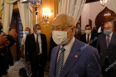 President of the Tunisian Parliament Rached Ghannouchi arrives to the ceremony in Dar Dhiafa.