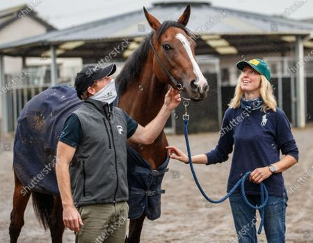 Trainer Johnny Murtagh with Champers Elysees and head girl Valerie Keatley ahead of Longines Irish Champions Weekend which takes place at Leopardstown and the Curragh on Saturday 12 and Sunday 13 September.