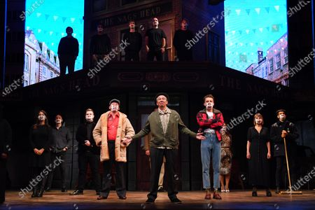 Paul Whitehouse and other members of the cast and crew of Only Fools and Horses The Musical on stage at the Theatre Royal Haymarket after making a 15 minute socially-distanced silent stand to show solidarity with those in the UK theatre industry who have lost their jobs and received no government support, highlight the lack of government guidance for the reopening of theatres, and to implore the Government to provide the industry with a date when theatres can reopen without social distancing.