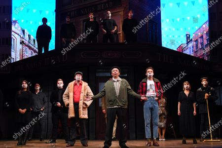 Stock Image of Paul Whitehouse and other members of the cast and crew of Only Fools and Horses The Musical on stage at the Theatre Royal Haymarket after making a 15 minute socially-distanced silent stand to show solidarity with those in the UK theatre industry who have lost their jobs and received no government support, highlight the lack of government guidance for the reopening of theatres, and to implore the Government to provide the industry with a date when theatres can reopen without social distancing.
