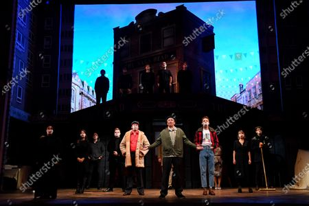 Stock Picture of Paul Whitehouse and other members of the cast and crew of Only Fools and Horses The Musical on stage at the Theatre Royal Haymarket after making a 15 minute socially-distanced silent stand to show solidarity with those in the UK theatre industry who have lost their jobs and received no government support, highlight the lack of government guidance for the reopening of theatres, and to implore the Government to provide the industry with a date when theatres can reopen without social distancing.
