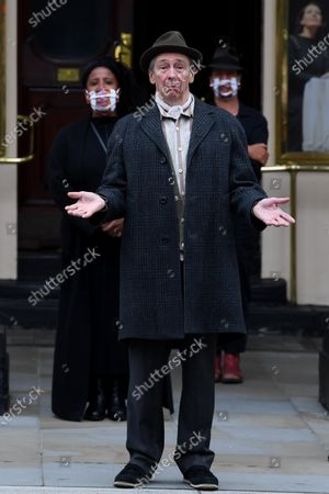Paul Whitehouse and other members of the cast and crew of Only Fools and Horses The Musical outside the Theatre Royal Haymarket making a 15 minute socially-distanced silent stand to show solidarity with those in the UK theatre industry who have lost their jobs and received no government support, highlight the lack of government guidance for the reopening of theatres, and to implore the Government to provide the industry with a date when theatres can reopen without social distancing.
