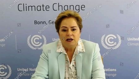 Stock Image of From video streamed online and provided by Ministry of Environment Government of Japan, Patricia Espinosa, Executive Secretary of the United Nations Framework Convention on Climate Change (UNFCCC) speaks during the Online Platform Ministerial Meeting . U.N. Secretary General Antonio Guterres is urging Japan and other wealthy nations to give up reliance on coal and other fossil fuels and commit to investments in green energy as they recover from the coronavirus pandemic