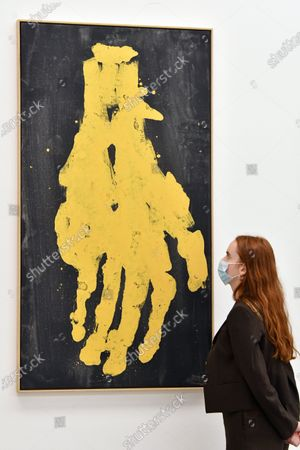 Stock Image of Georg Baselitz 'Darkness Goldness', Mano meno 2019