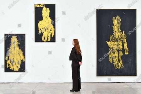 Georg Baselitz 'Darkness Goldness', (L-R) Mano meno, 2019, Mettere mano a - anfangen, 2019, Manomorta 2019