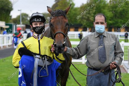 Winner of The Shadwell Apprentice Handicap (Div 2)   Wightman ridden by George Bass and trained by Mick Channon in the Winners enclosure during Horse Racing at Salisbury Racecourse on 3rd September 2020
