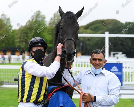 Winner of The British Stallion Studs EBF Quidhampton Maiden Fillies' Stakes Lady Hayes ridden by Jack Mitchell and trained by Roger Varian  in the Winners enclosure during Horse Racing at Salisbury Racecourse on 3rd September 2020