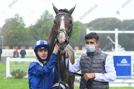 Stock Image of Winner of The Racing TV Handicap Nasraawy  (rails) ridden by Kieran OÕNeil and trained by John Gosden in the Winners enclosure during Horse Racing at Salisbury Racecourse on 3rd September 2020