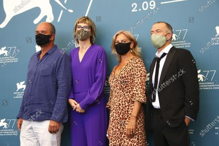 Actor Boris Isakovic, from left, director Jasmila Zbanic, actors Jasna Duricic and Raymond Thiry pose for photographers at the photo call for the film 'Quo Vadis, Aida ?' during the 77th edition of the Venice Film Festival in Venice, Italy