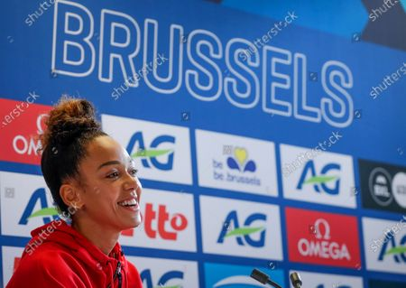 Katarina Johnson-Thompson of Britain smiles during a press conference of the IAAF Diamond League Memorial Van Damme athletics meeting in Brussels, Belgium, 03 September 2020. The Memorial Van Damme exhibition event will take place on 04 September 2020.