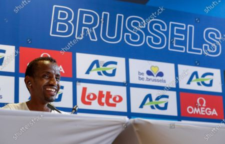 Bashir Abdi of Belgium smiles during a press conference of the IAAF Diamond League Memorial Van Damme athletics meeting in Brussels, Belgium, 03 September 2020. The Memorial Van Damme exhibition event will take place on 04 September 2020.