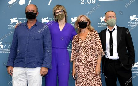 Boris Isakovic, Bosnian filmmaker Jasmila Zbanic, Serbian actress Jasna Duricic and Dutch actor Raymond Thiry pose at a photocall for 'Quo Vadis, Aida?' during the 77th annual Venice International Film Festival, in Venice, Italy, 03 September 2020. The event is the first major in-person film fest to be held in the wake of the Covid-19 coronavirus pandemic. The 77th edition of the festival runs from 02 to 12 September 2020.