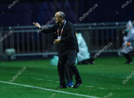 Rafael Benitez, head coach of Dalian FC, gestures during the 9th round match between Henan Jianye and Dalian FC at the postponed 2020 season Chinese Football Association Super League (CSL) Dalian Division in Dalian, northeast China's Liaoning Province, Sept. 3, 2020.