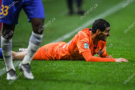 Marouane Fellaini of Shandong Luneng reacts during the 9th round match between Shandong Luneng and Jiangsu Suning at the postponed 2020 season Chinese Football Association Super League (CSL) Dalian Division in Dalian, northeast China's Liaoning Province, Sept. 3, 2020.