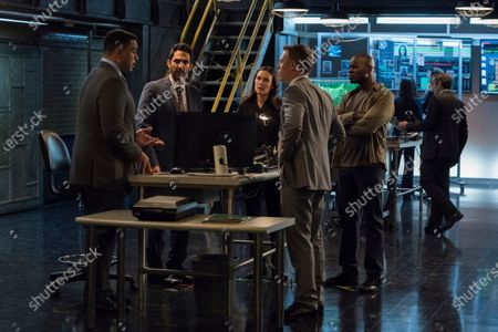 Stock Image of Harry Lennix as Harold Cooper, Amir Arison as Aram Mojtabai, Megan Boone as Elizabeth Keen and Diego Klattenhoff as Donald Ressler