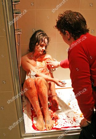 Series 4 Actress Dido Miles being made up in the shower