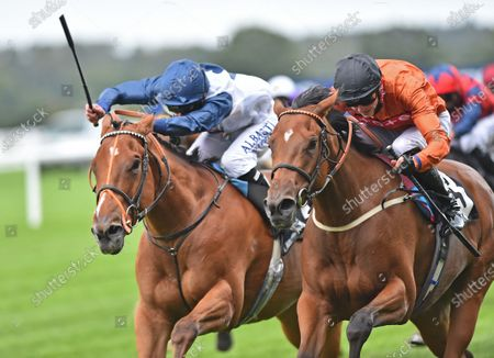(R) Double Or Bubble (James Doyle) wins The Jim Barry Wines Handicap Stakes from (L) Sunset Breeze (Luke Morris). Photo © Hugh Routledge.