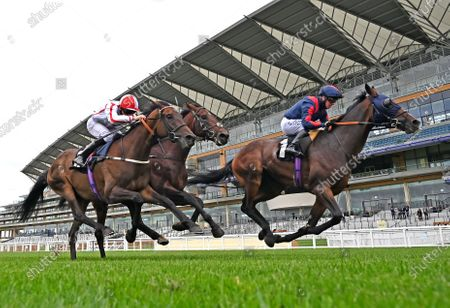 Stock Picture of (R) Laafy (Jim Crowley) wins The Victoria Racing Club Handicap Stakes from (L) On To Victory (Martin Harley) and (C) Labeebb (Jack Mitchell). Photo © Hugh Routledge.