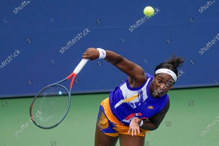 Stock Picture of Sloane Stephens, of the United States, serves to Olga Govortsova, of Belarus, during the second round of the US Open tennis championships, in New York
