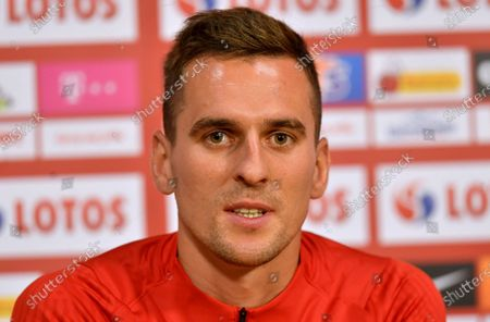 Polish national soccer team player Arkadiusz Milik attends a press conference in Amsterdam, Netherlands, 03 September 2020. Poland will face the Netherlands in their UEFA Nations League soccer match on 04 September 2020.