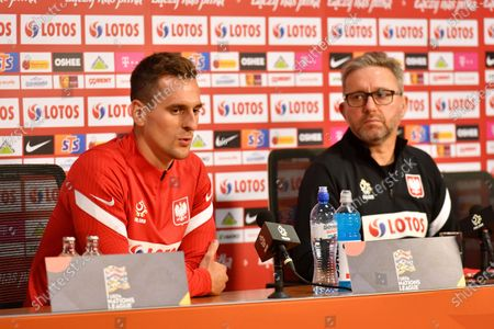 Polish national soccer team head coach Jerzy Brzeczek (R) and his player Arkadiusz Milik (L) attend a press conference in Amsterdam, Netherlands, 03 September 2020. Poland will face the Netherlands in their UEFA Nations League soccer match on 04 September 2020.