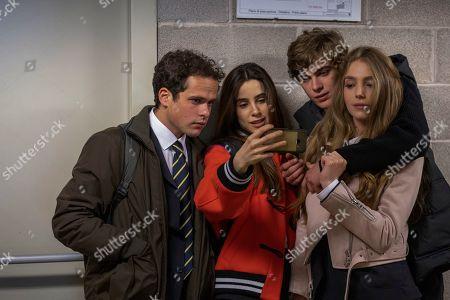 Stock Picture of Brando Pacitto as Fabio Fedeli, Chabeli Sastre as Camilla Rossi Govender and Lorenzo Zurzolo as Niccolo Rossi Govender