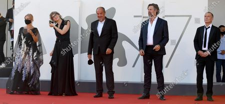 Serbian actress/cast member Jasna Duricic, Bosnian filmmaker Jasmila Zbanic, Serbian actor/cast member Boris Isakovic, Belgian actor/cast member Johan Heldenbergh and Dutch actor/cast member Raymond Thiry arrive for the premiere of 'Quo Vadis, Aida?' during the 77th Venice Film Festival in Venice, Italy, 03 September 2020. The event is the first major in-person film fest to be held in the wake of the Covid-19 coronavirus pandemic. Attendees have to follow strict safety measures like mandatory face masks indoors, temperature scanners, and socially distanced screenings to reduce the risk of infection. The public is barred from the red carpet, and big stars are expected to be largely absent this year. The 77th edition of the festival runs from 02 to 12 September 2020.