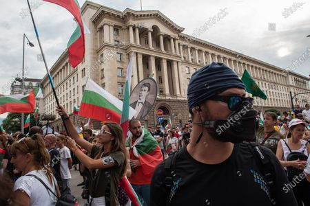 Protester wearing a gas mask during the demonstration. For the 56th consecutive day, Bulgarians have gathered outside government buildings accusing the Prime Minister, Boyko Borisov of corruption and protecting powerful tycoons. Demonstrators in the capital and cities across the country are calling for the resignation of the Prime Minister and his centre-right government.