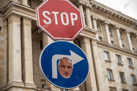A stop sign with the face of Prime Minister, Boyko Borisov seen during the demonstration. For the 56th consecutive day, Bulgarians have gathered outside government buildings accusing the Prime Minister, Boyko Borisov of corruption and protecting powerful tycoons. Demonstrators in the capital and cities across the country are calling for the resignation of the Prime Minister and his centre-right government.