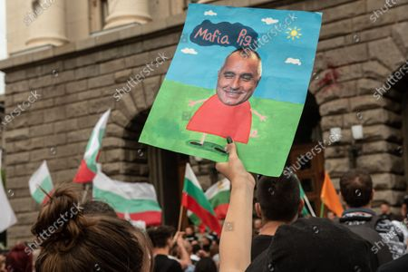 Placard with the face of Prime Minister, Boyko Borisov held by a protester during the demonstration. For the 56th consecutive day, Bulgarians have gathered outside government buildings accusing the Prime Minister, Boyko Borisov of corruption and protecting powerful tycoons. Demonstrators in the capital and cities across the country are calling for the resignation of the Prime Minister and his centre-right government.
